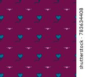 pattern with hearts valentines... | Shutterstock .eps vector #783634408