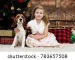 little girl and puppy | Shutterstock . vector #783657508