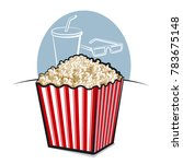 illustration of popcorn in box | Shutterstock . vector #783675148