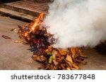 burning a heap of leaf burning... | Shutterstock . vector #783677848