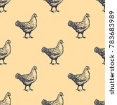 chicken seamless pattern hand... | Shutterstock .eps vector #783683989