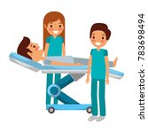 dental stretcher with patient... | Shutterstock .eps vector #783698494
