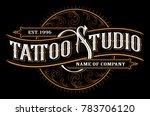 vintage tattoo studio lettering.... | Shutterstock .eps vector #783706120