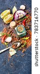 a large set of spices and... | Shutterstock . vector #783716770