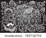 foods doodles hand drawn... | Shutterstock .eps vector #783718753