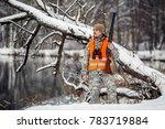 male hunter in camouflage ... | Shutterstock . vector #783719884