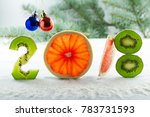 healthy holidays food and diet. ... | Shutterstock . vector #783731593