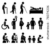 old man patient blind disable handicap pregnant woman children baby poor begger people in need priority icon symbol sign pictogram - stock photo