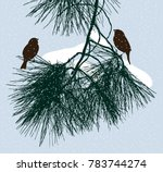 birds sit on a pine branch in... | Shutterstock .eps vector #783744274