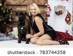 woman and dog cane corso | Shutterstock . vector #783744358