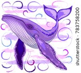 purple and pink humpback whale  ... | Shutterstock .eps vector #783758200