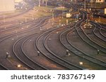 curved paths in the railway... | Shutterstock . vector #783767149