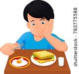 Little Boy Boring To Eat