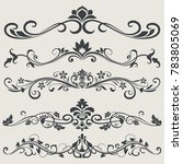 black and white vintage floral...   Shutterstock .eps vector #783805069