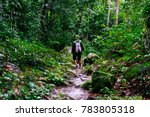 heavy rain on a trekking trip... | Shutterstock . vector #783805318