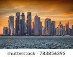 the skyscrapers of doha  qatar  ... | Shutterstock . vector #783856393
