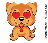 red haired puppy sits and... | Shutterstock . vector #783866530