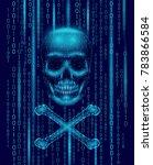 jolly roger skull binary code...   Shutterstock .eps vector #783866584