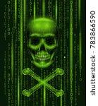 jolly roger skull binary code...   Shutterstock .eps vector #783866590