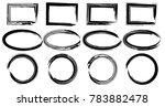 grunge vector circles  ellipses ... | Shutterstock .eps vector #783882478