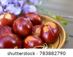 home made easter eggs cooked in ...   Shutterstock . vector #783882790