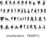 dancing. vector silhouettes for ... | Shutterstock .eps vector #7838971