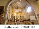 Small photo of Turza Slaska, Poland, 07 October 2017: Presbytery and altar with the image Our Lady of Fatima from the main altar at the Sanctuary in Poland, the first church in Poland dedicated to Our Lady of Fatima