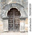 ornate wood door on historic... | Shutterstock . vector #783908539