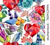 tropical flower pattern in a... | Shutterstock . vector #783912994