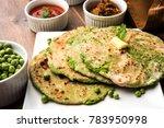 green peas stuffed flat bread... | Shutterstock . vector #783950998