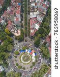 panoramic aerial view of the Fuente de la Cibeles full of tents in the earthquake of September 19, 2017 in the city of mexico