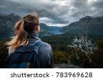 woman hiker enjoys mountains... | Shutterstock . vector #783969628