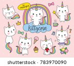 Stock vector cute white cat unicorn with rainbow horn and tail set including cute elements such as flower ice 783970090