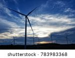windmills and sunset with... | Shutterstock . vector #783983368
