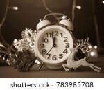 christmas decoration and alarm... | Shutterstock . vector #783985708
