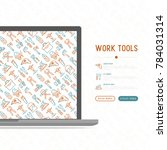 work tools concept with thin... | Shutterstock .eps vector #784031314