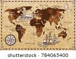 hand drawn sketch retro world... | Shutterstock . vector #784065400
