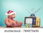 teddy bear toy in santa hat ... | Shutterstock . vector #784073650