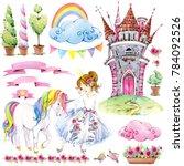 fairy tale kingdom set of...   Shutterstock . vector #784092526