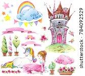 fairy tale kingdom set of... | Shutterstock . vector #784092529