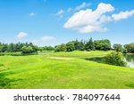 green meadow and trees with... | Shutterstock . vector #784097644