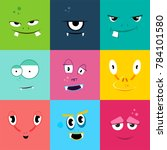 set of cartoon monsters faces... | Shutterstock . vector #784101580