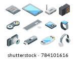 different electronic gadgets... | Shutterstock . vector #784101616