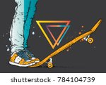 stylish skater in jeans and... | Shutterstock .eps vector #784104739