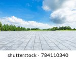 empty square floor and green... | Shutterstock . vector #784110340