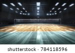 Empty professional volleyball court in lights