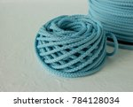 Small photo of Yarn cake, Light blue thick yarn, braided cord, macrame cord, polyester cord