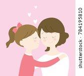 cartoon cute daughter kissing... | Shutterstock .eps vector #784195810