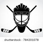 ice hockey goal keeper helmet... | Shutterstock .eps vector #784201078