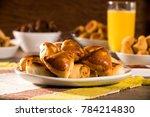 brazilian snack. meat esfiha... | Shutterstock . vector #784214830
